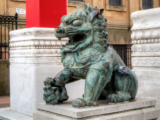 One of a pair of lions on Nelson Street, Manchester, guarding the entrance to Chinatown