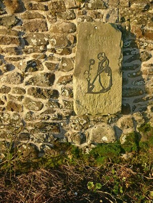 A plaque at Lindisfarne Castle gardens reads 'Gertrude Jekyll 1843- 1932'