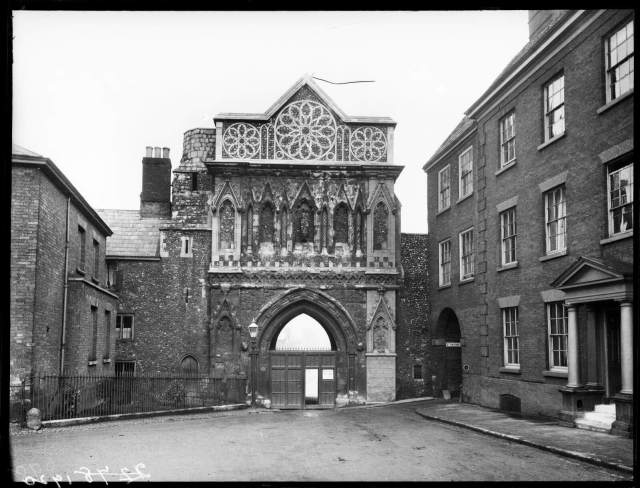 Black and white image of St Ethelbert's Gate in 1893