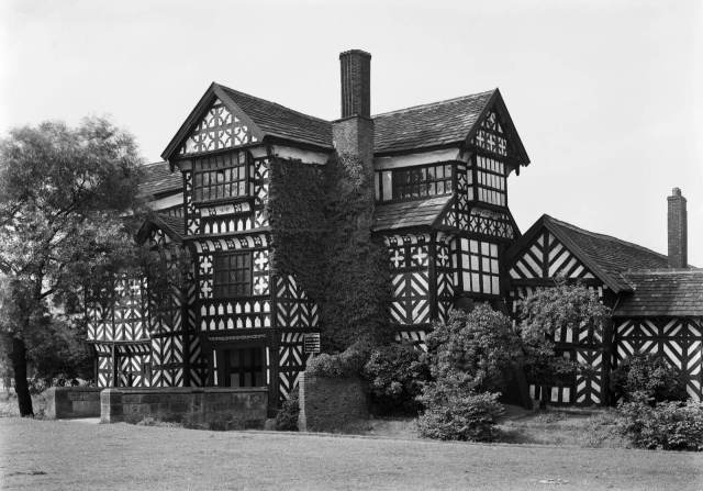 Black and white image of Moreton Old Hall exterior