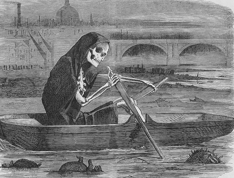Cartoon of a robed skeleton travelling down the Thames in a wooden boat