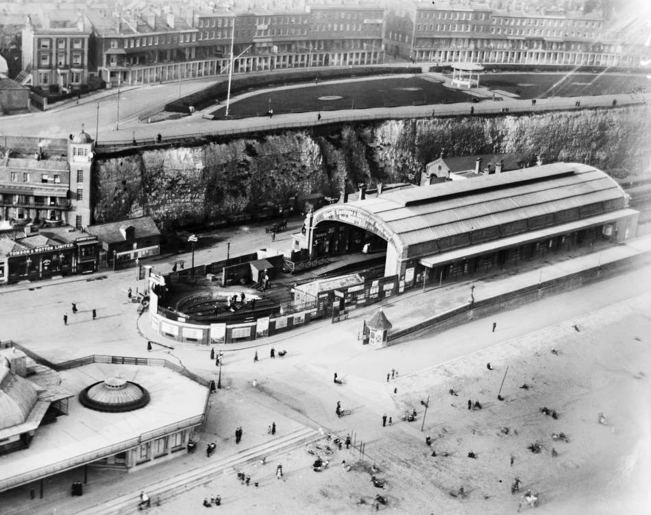 Aerial view of Ramsgate Harbour Station with lots of people walking around
