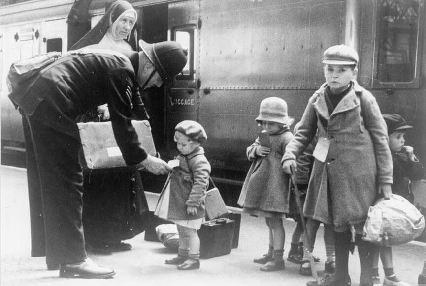 Young evacuees at a London station