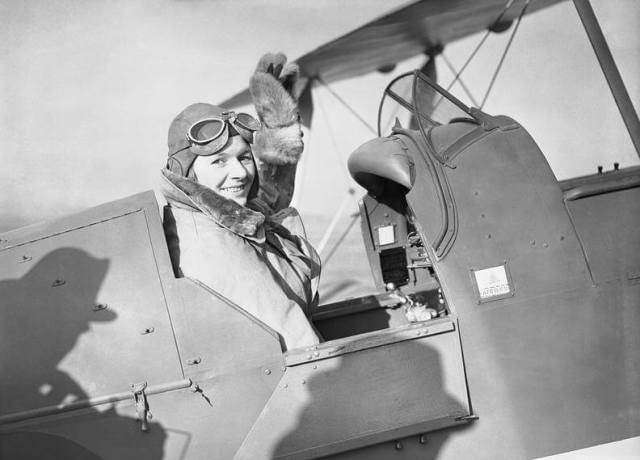 Pauline Gower in the cockpit of a De Havilland Tiger Moth