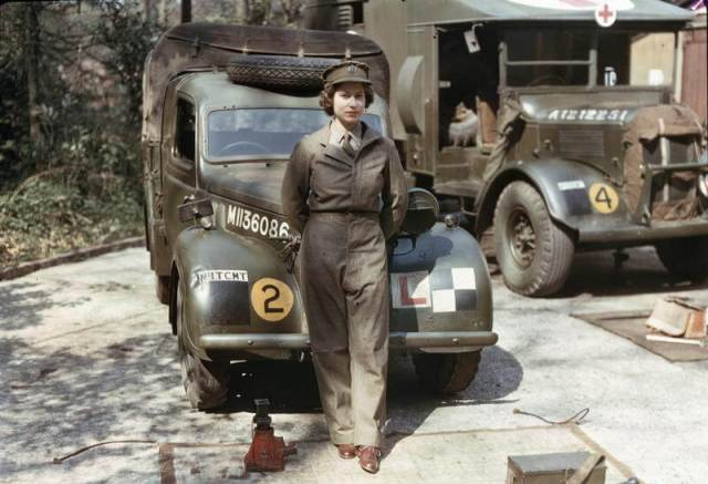 Princess Elizabeth (the current queen), in 1945 aged 19, at the Mechanical Transport Training Centre