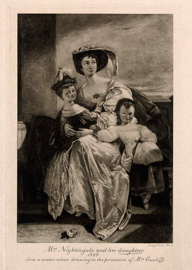 Drawing of Florence Nightingale and her sister Parthenope with their mother Frances