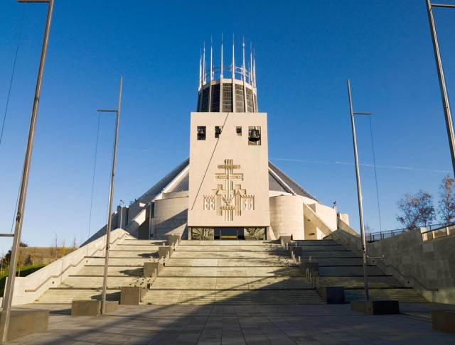 Exterior of Metropolitan Cathedral of Christ The King, Liverpool, Merseyside