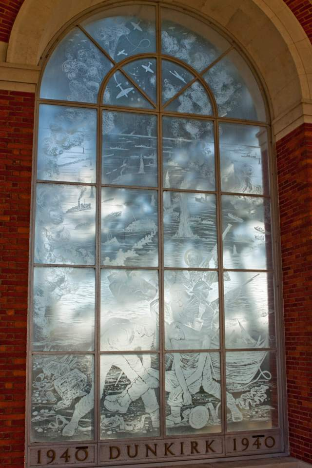 Dunkirk memorial window depicting scenes from the evacuation