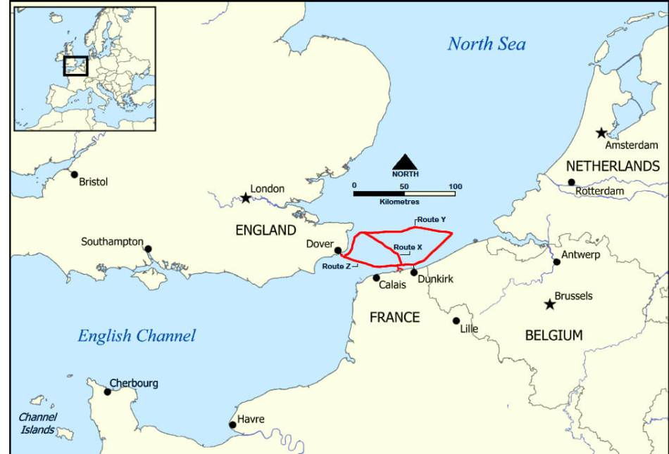 Map of the three evacuation routes across the English Channel from Dunkirk