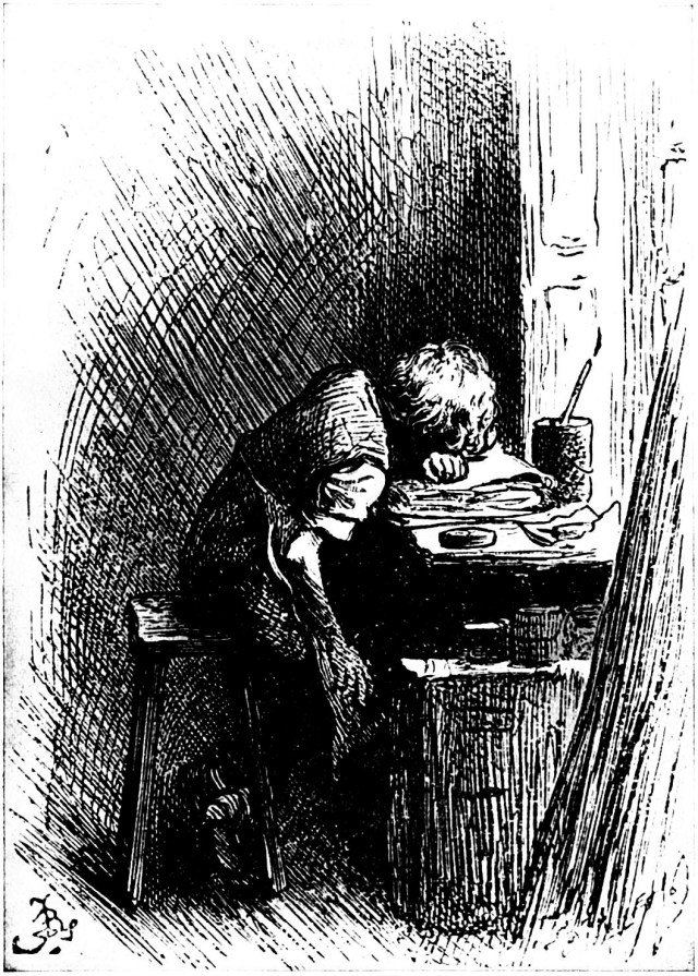 Dickens at Warren's Blacking Factory. Illustration