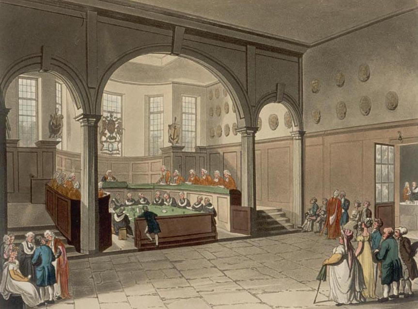 Engraving of scene from Doctors' Commons