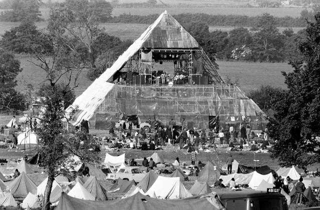 Pyramid stage and tents, Glastonbury 1971