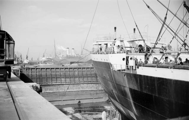 A ship in dry dock at Tilbury Docks, 1945-1957