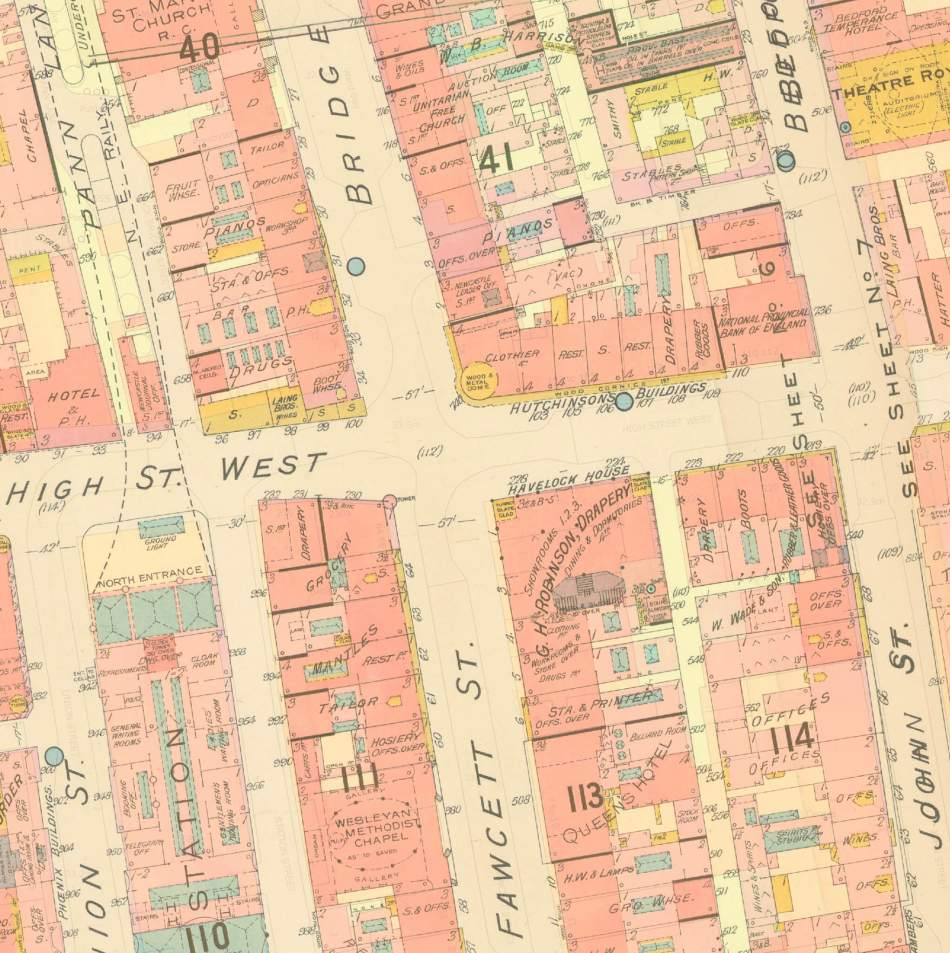 The Goad Insurance map of Sunderland, 1894, showing G H Robinson's Havelock House drapery, Hutchinson's Buildings and other buildings which were affected by the fire of 1898. The individual units of Hutchinson's Buildings are clearly shown © Historic England