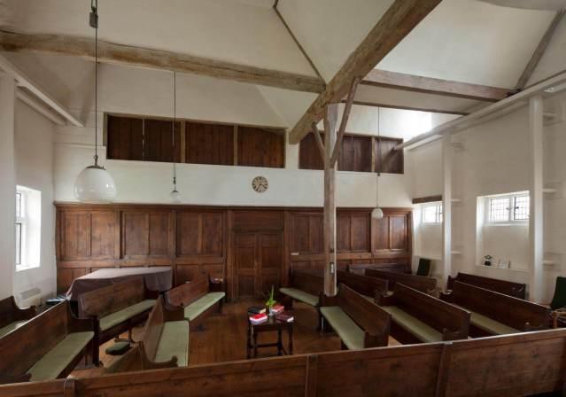 Interior of Quaker Meeting House, Railway Street, Hertford, Hertfordshire © Historic England Archive DP160138