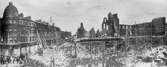 Header image: The ruins of Havelock House immediately after the fire, showing the remains of its cast-iron colonnade, and the effects of the fire on Hutchinson's Buildings and Mackie's Corner opposite © Sunderland Antiquarian Society