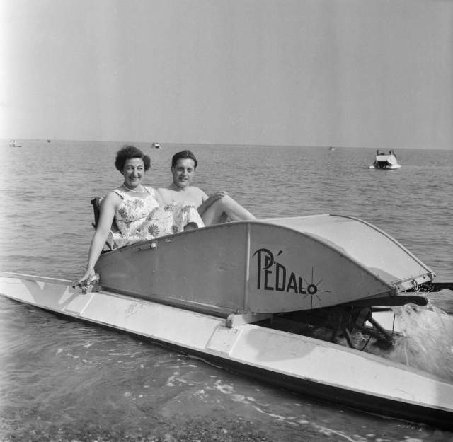 A couple on a pedalo during a Laing staff trip to Felixstowe
