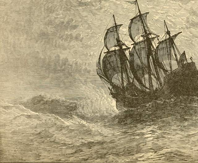 Engraving of the Mayflower at sea.