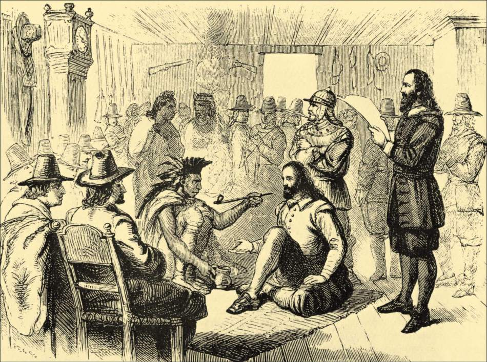 Massasoit smoking a ceremonial pipe with Governor John Carver
