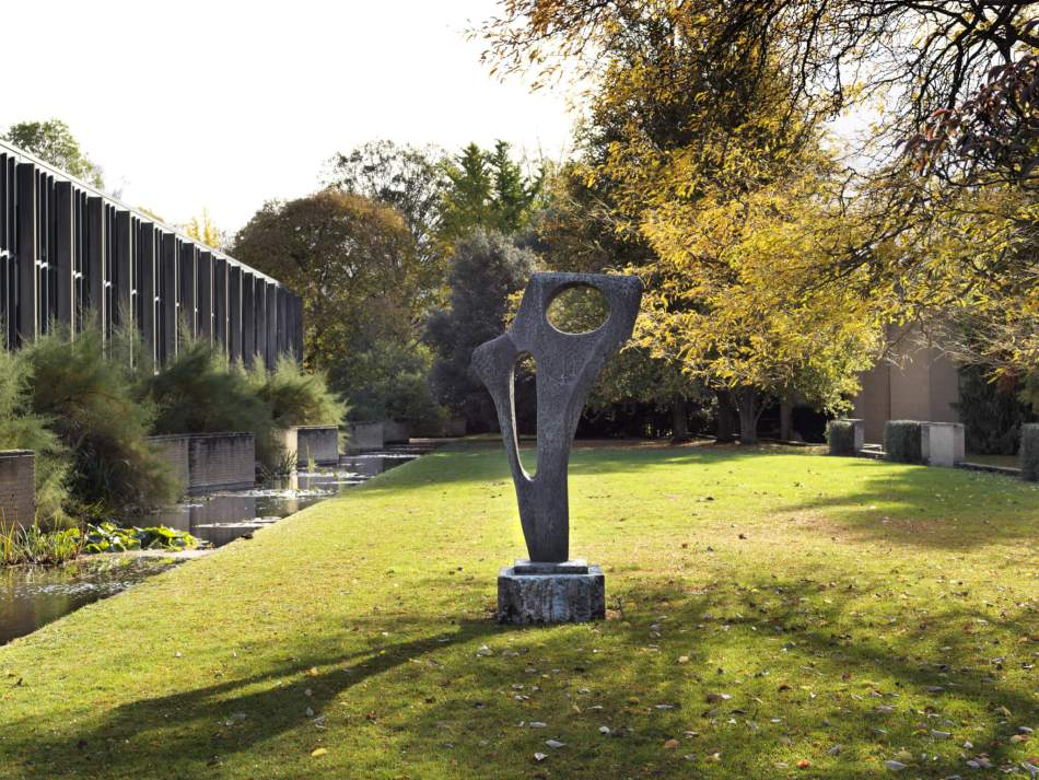 Barbara Hepworth sculpture within the landscape at St Catherine's College, Oxford © Historic England Archive DP221772