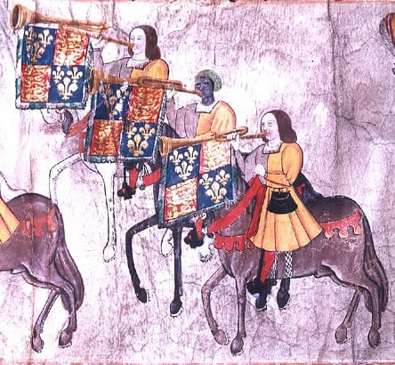 Extract from the Westminster Tournament Roll almost certainly showing John Blanke. Image via Wikimeda Commons