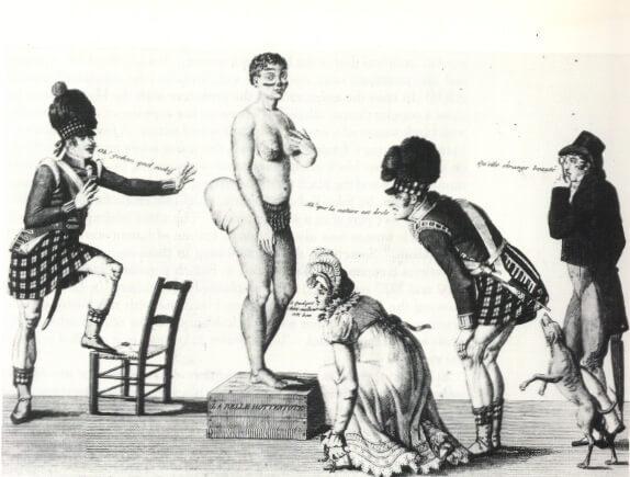 "19th century French print ""La Belle Hottentot"" of Saartjie Baartman. Image via Wikimedia Commons"