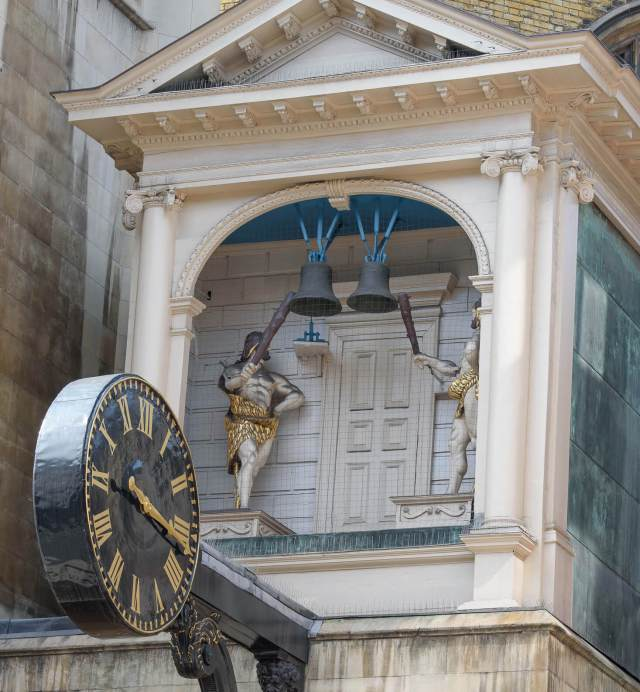 The clock at St Dunstan-in-the-West church, Fleet Street