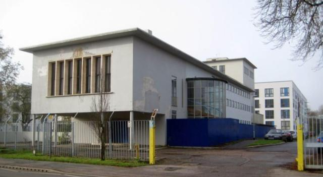 Contemporary image of part of the administrative block of the former Roche Products factory