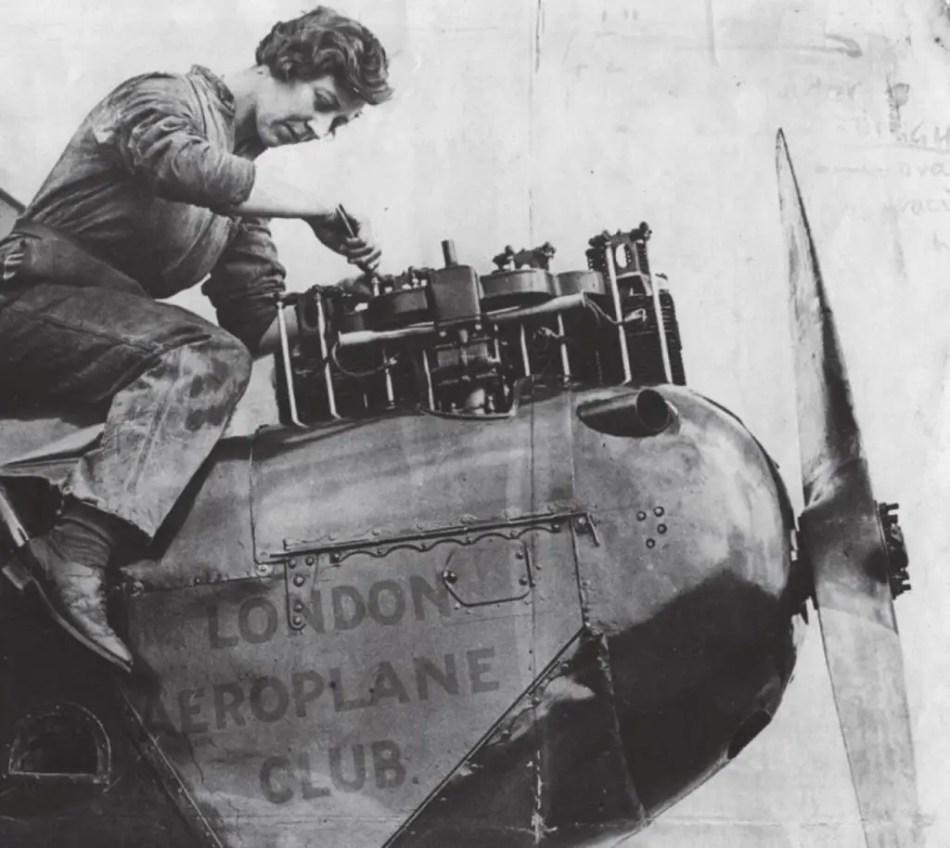 Amy Johnson at work on a de Havilland Gipsy Moth