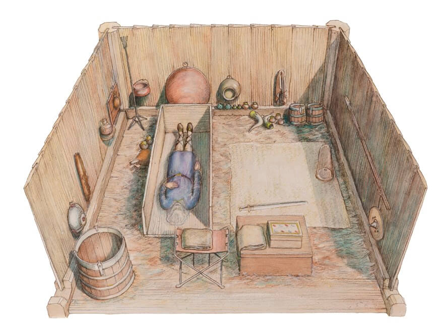 An artist's reconstruction of an Anglo-Saxon princely burial chamber, lined with wood and furnished with grave goods.