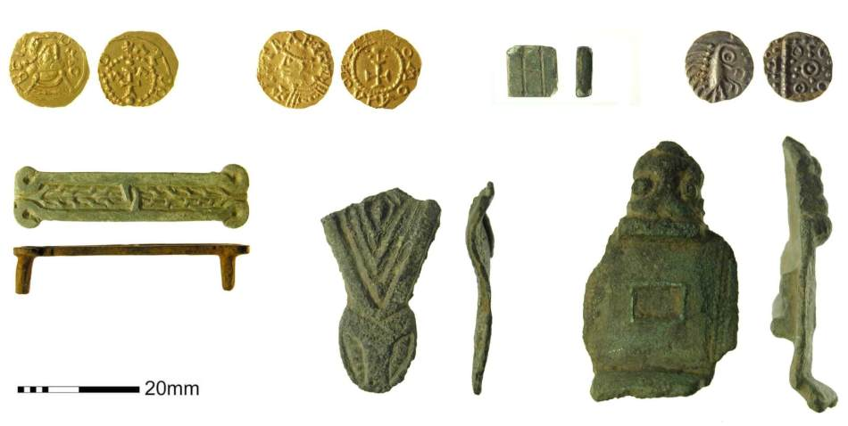A selection of  Anglo-Saxon finds, including coins and broaches.
