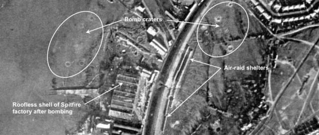 Aerial photograph taken shortly after the destruction of the Supermarine Aviation Works