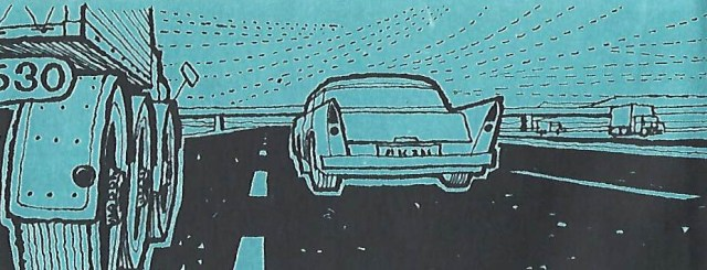 Illustration of two cars on a three lane motorway
