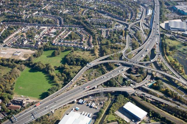 Aerial view of the Gravelly Hill intersection, popularly known as 'Spaghetti Junction'