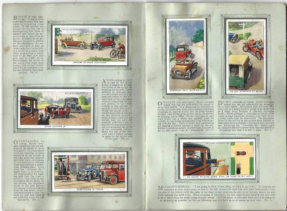 Images of cars in a cigarette card album