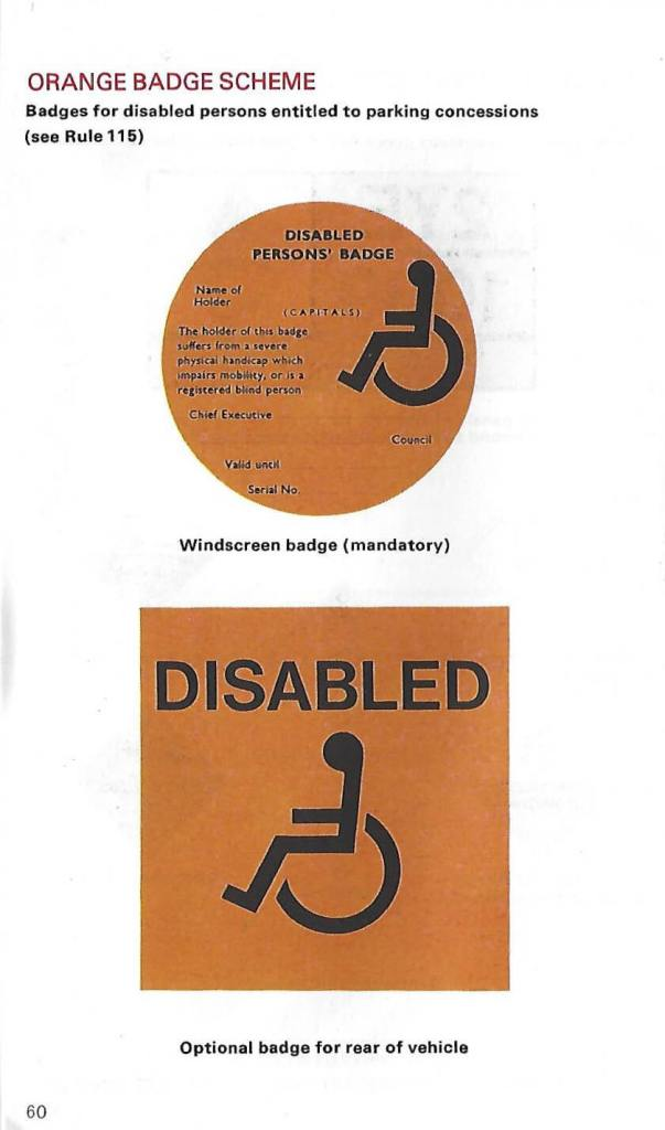The new disabled badges illustrated in the 1978 Highway Code