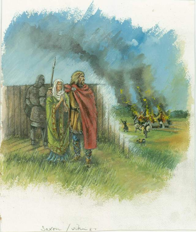 Reconstruction art showing an Anglo-Saxon man and woman looking over a wooden palisade,  which has been cut away to depict the Viking raiders outside burning a settlement.