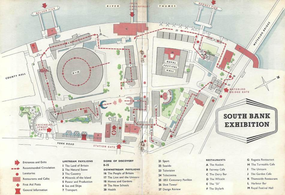 Map of the South Bank Festival site with 22 pavilions and 13 restaurants.