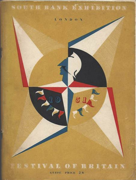 Cover of the HSO brochure to the Festival of Britain with a gold background, featuring the white, blue and red 'Festival star' with Britannia in the centre.