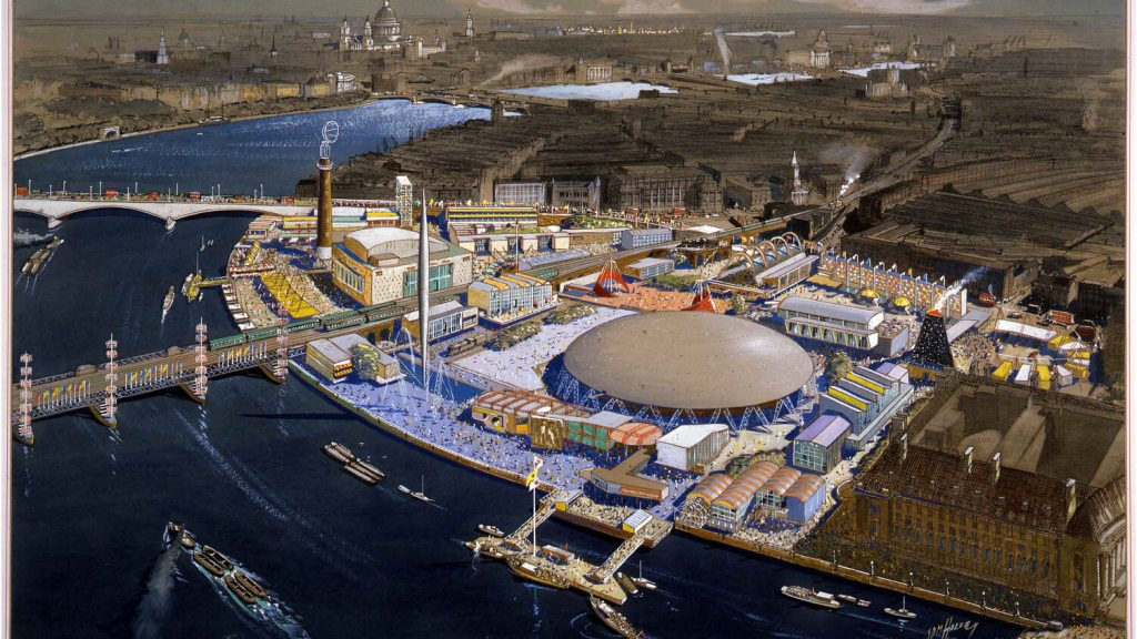 Illustration of festival of britain site and Thames river, from above.