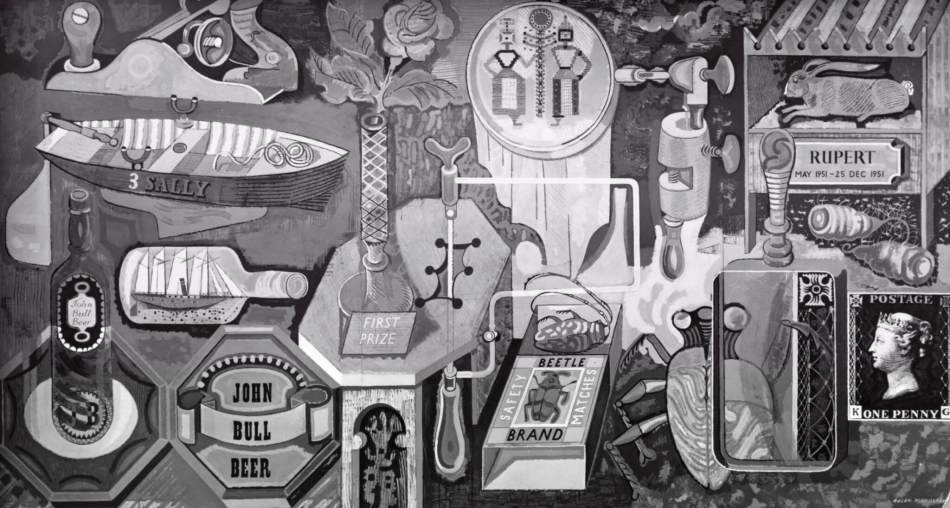 Roger Nicholson mural featuring an assortment of items including a stamp, a ship in a bottle, a rowing boat.