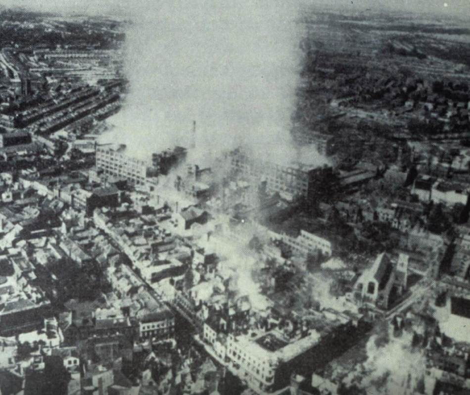 Aerial photo of factory on fire.