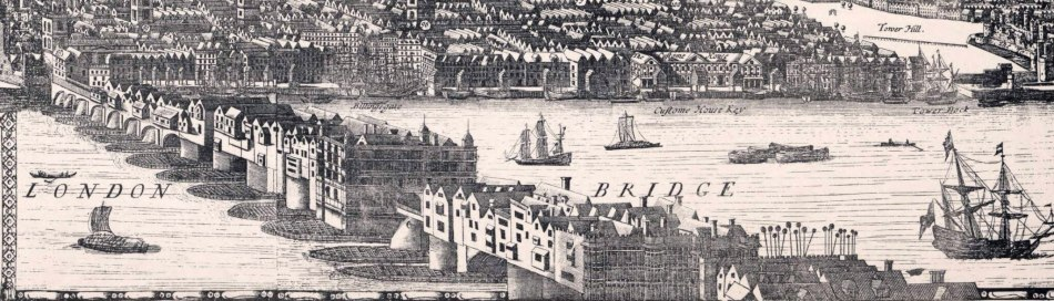 Drawing and map of London Bridge with houses along it and boats going under it.