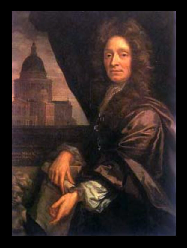 Oil painting of Sir Christopher Wren, a man with long brown hair and a purple dress coat holding a scroll, with the new St Paul's cathedral on Ludgate Hill in the background