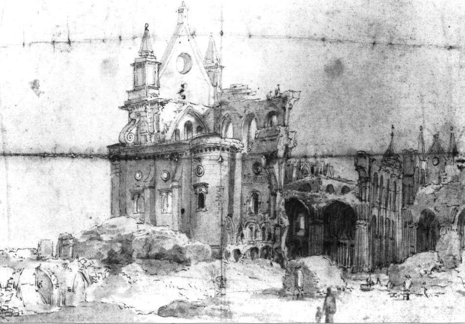 Drawing of the ruins of St Paul's Cathedral