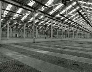 National Filling Factory, Chilwell, Nottingham: shell store.  This huge space was able to hold 600,000 shells filled with explosives ready for shipment. © Historic England/AA96/3550