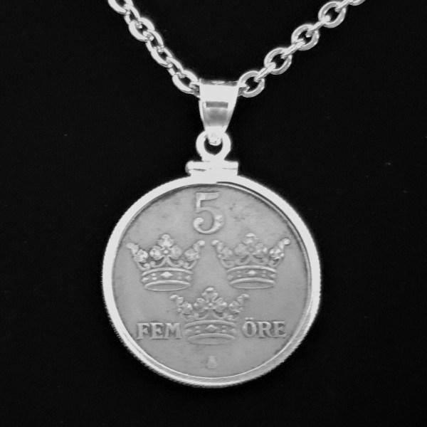 SWEDEN Five Fem Ore 1946 .101oz 27.00×1.80 mm Coin Edge Bezel 49 rev