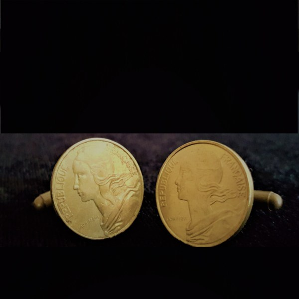 France Ten Centimes 1966 Bronze Cuflinks 20.00mm v3
