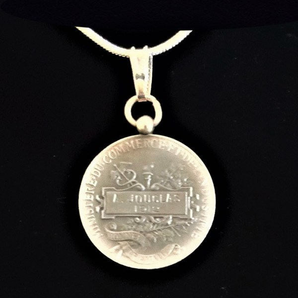 French Republique Francaise Silver Medal 1912 Signed Borrel A Jouclas Sterling Silver Snake Chain .80 oz1.0625 in x 27.00 x 1.07 mm 14+20.59 rev