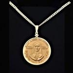 Saint Kateri Tekakwitha Medal by Garrison Garrow A Mohawk Artist1.50 in 38.00 x 4.40 mm Coin Edge Sterling Silver Plated Bezel Sterling Silver Chain rev 8+18+5+18=69 OB MODD